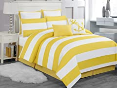 Delia Stripe 8pc Comforter Set-Yellow-Queen