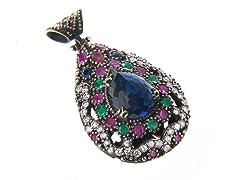 SS Dyed Sapphire, Emerald & Ruby Genuine Semi-Precious Gemstone CZ Pendant