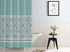 Waterproof Printed Shower Curtain Oxford Stripe