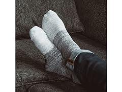 MUK LUKS Men's 2-Pair Fluffy Yarn Socks