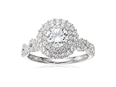 Silver Cubic Zirconia Round Frame Ring
