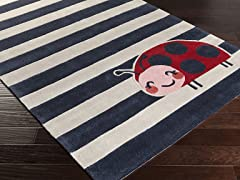 Young Life Navy Lady Bug Rug - 5 Sizes
