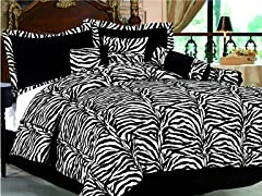 Zebra 7-pc Comforter Set - Black - 2 Sizes