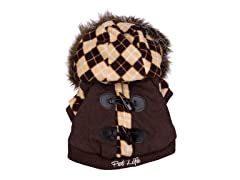 Brown Argyle Pattern Jacket with Hood