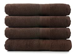 MicroCotton 4pc Bath Towel Set-Chocolate