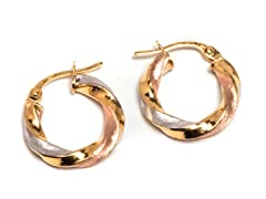 14K Gold Twisted Tri-Tone Hoop Earring