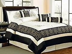 Nikita 7pc Comforter Set - Black - 2 Sizes