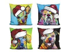 Colorful Dog Christmas Pillow