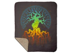 Fractal Tree of Life Sherpa Blanket