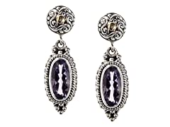 18k Gold Accent Amethyst Dangle Earrings