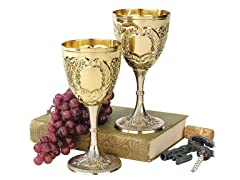 Chalice Embossed Brass Goblet, 6-Pack