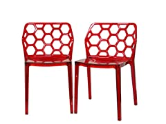 Honeycomb Dining Chairs Set of 2 - Red
