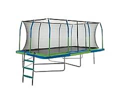 Upper Bounce Mega Outdoor Trampoline with Fiber Flex Enclosure System 10' x 17'