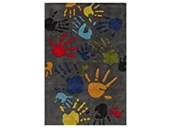 Kid's Fingerpaint Rug 3 X 5 - Grey