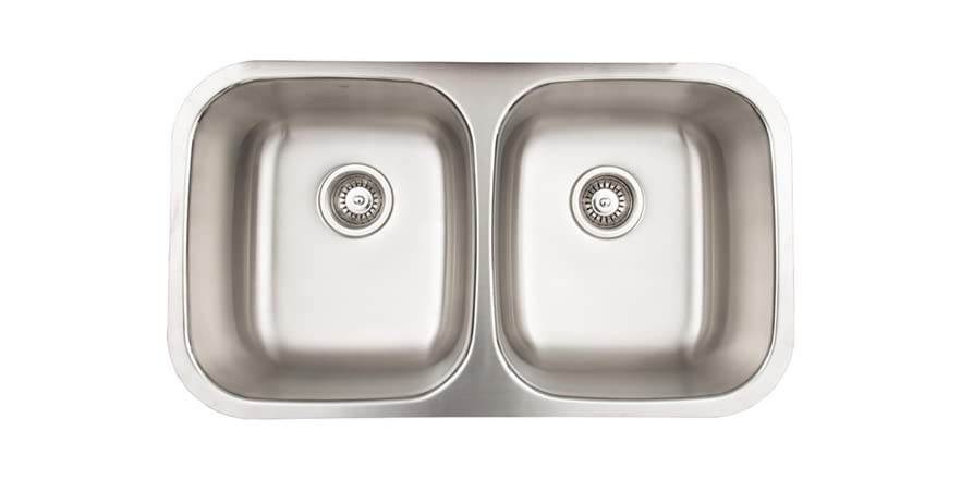 32 Inch Undermount Stainless Steel 18 Gauge Double Bowl