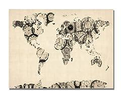 Old Clocks World Map 18x24 Canvas