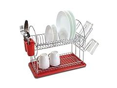 2 Tier Space Saving Dish Rack Red