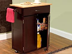 Kitchen Cart with Wood Top- Espresso/Natural