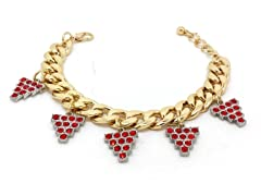 Ruby Grapes Crystal Pave Cuban Chain Bracelet