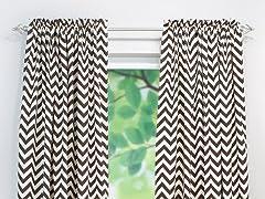Village Rod Pocket Curtain Panel - Brown - 3 Lengths