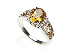 Sterling Silver and 14kt Gold Citrine Ring