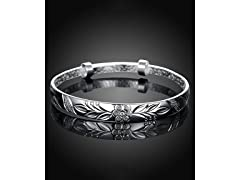 Silver Lazer Cut Floral Bangle