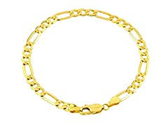 14K Gold Figaro Chain Men Bracelet