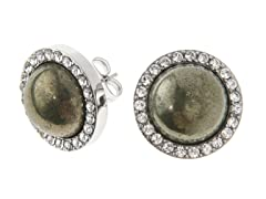Stainless Steel Earrings w/ Pyrite