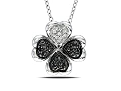 0.10cttw Black Diamond Pendant with Chain