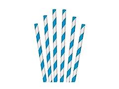 "7.75"" Blue Stripe Jumbo Paper Straws"