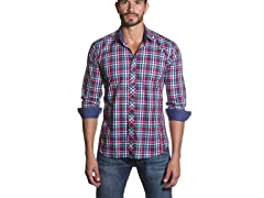 Men's Button Down Shirt, Fuchsia Plaid