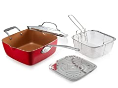 "9.5"" Deep Square Pan, 4PC Set - 5 Colors"