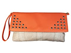 Spiked Snake Clutch Bag, Peach and Cream