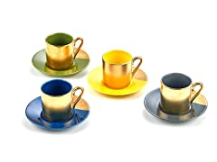 Yedi Set of 4 Espresso Sets Assorted/Gold