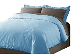Hotel Peninsula Duvet Set-Blue-2 Sizes