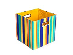 Rusty Stripes Canvas Folding Storage Bin
