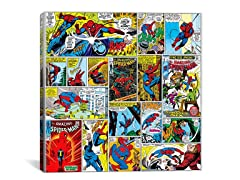 Spider-Man Covers & Panels Square Canvas Print