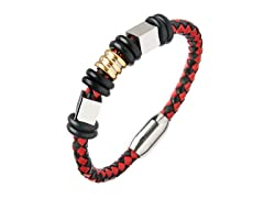 Black & Red Braided Leather Charm