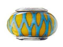 Yellow & Green Basketweave Glass Bead