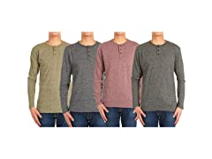 Men's Long-Sleeve Marled Henley Shirt 4P