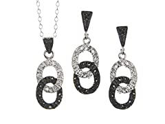 Black/White Marcasite Ovals CZ Set