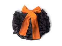 Ruffled Bloomer - Black with Orange Bow