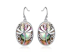 18k Gold Plated Abalone Dragonfly Earrings