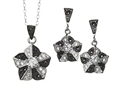 Black/White Marcasite Flower CZ Set