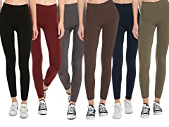 Set of 6 Fleece Lined Leggings