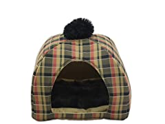 Plaid-Caramel Pet House with Pad