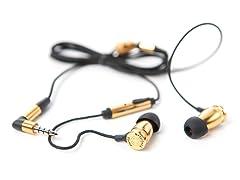 Overkill In-Ear Earphones w/Inline Mic - Brass