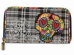 Boho Sugar Skull Wallet, Black Plaid