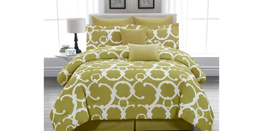 Rhys 8Pc Comforter Set Set-Olive Green-2 Sizes