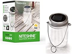 Touch Of ECO NITESHINE Solar Glass LED Mason Jar